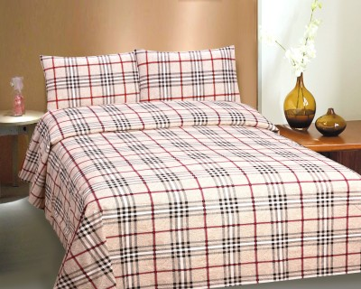 CURL UP Cotton Checkered Queen Sized Double Bedsheet 1 Bed Sheets 2 Pillow  Cover, Multi Color