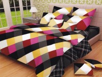 Lali Prints Cotton Checkered King Sized Double Bedsheet 1 Double Super King Size Bedsheet, 2 Pillow Covers, Multicolor