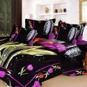 Aapno Rajasthan Pure Cotton Stylish Black Double - Set Reactive Procean Flat Double Bedsheet