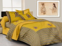 Lali Prints Cotton Embroidered King Sized Double Bedsheet 1 Bedsheet, 2 Pillow Covers, Yellow