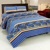 Bed & Bath Cotton Checkered, Paisley, Printed Queen Sized Double Bedsheet 1 Bedsheet, 2 Pillow Covers, Blue, Beige, Black