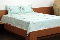 Unique Crafts Cotton Embroidered Double Bedsheet 1 Bedsheet, 2 Pillow Cover, White
