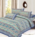 Aapno Rajasthan Turquoise N Blue Paisley Pure Cotton Set Mugal Print, Gold Print Flat Double Bedsheet