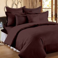 BlueeyE Satin Striped King Sized Double Bedsheet 1 Bedsheet With 2 Pillow Cover, Brown