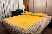 Kismat Collection Cotton Embroidered Double King Bedsheet 1 Bedsheet, 2 Pillow Cover, Multicolor