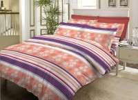 Bombay Dyeing Cotton Striped Double Bedsheet 1Double Bedsheet, 2Pillow Cover, Beige