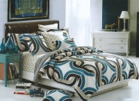 Shivalik Furnishing Cotton Striped, Graphic, Printed Double Bedsheet 1 Bedsheet, 2 Pillow Covers, Blue, Black, Beige