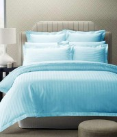 Ridhaan Cotton Striped Double Bedsheet 1, BEDSHEET, 2, Pillow Covers, Sky Blue