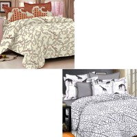 Story @ Home Cotton Floral Double Bedsheet Set Of 2 Double Bedsheet With 4 Pillow Cover, Multicolor