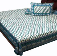 Ambika Ecommerce Cotton Bedding Set Green And Blue
