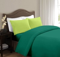 Ahmedabad Cotton Cotton Solid Double Bedsheet 1 Double Bedsheet And 2 Pillow Covers, Dark Green, Light Green