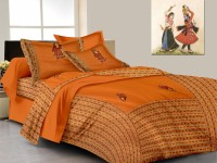 Lali Prints Cotton Embroidered King Sized Double Bedsheet 1 Bed Sheet, 2 Pillow Covers, Orange