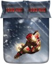 Stoa Paris Lt. Blue Iron Man 300TC Bedlinens Printed Flat Double Bedsheet