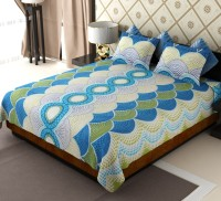 Home Candy Cotton Geometric Double Bedsheet 1 Bed Sheet, 2 Pillow Covers, Blue - BDSEB9KWVVFPFHFY