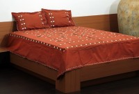 Unique Crafts Cotton Embroidered Double Bedsheet 1 Bedsheet, 2 Pillow Cover, Brown