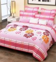 Home Candy Cotton Beautiful Pink Floral Double Bed Sheet With 2 Pillow Covers Cotton Collection Flat Double Bedsheet