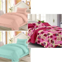 Story @ Home Cotton Printed Single Bedsheet Set Of 3 Double Bedsheet With 3 Pillow Cover, Multicolor