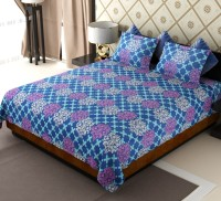 Home Candy Cotton Floral Double Bedsheet 1 Bed Sheet, 2 Pillow Covers, Blue