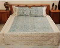Heritagefabs Cotton Printed Double Bedsheet (1 Bedsheet, 2 Pillow Covers, Blue)