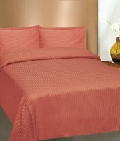 Amita Home Furnishing Satin Striped King Sized Double Bedsheet 1 Cotton Satin Stiped Elastic Fitted 4 To 6 Inch Matress Double Bed Sheet, 2 Pillow Cover, Peach