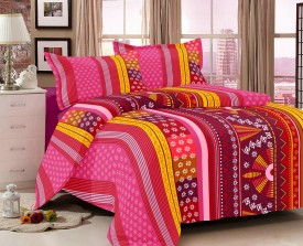 Double A Creation Cotton Geometric King sized Double Bedsheet