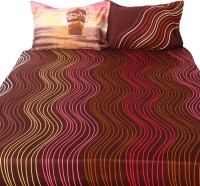 Story @ Home Cotton Abstract Double King Bedsheet 1 Double Bedsheet, 2 Pillow Covers, Brown