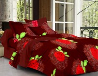 Story @ Home Cotton Printed Double Bedsheet 1 Bedsheet, 2 Pillow Cover, Red