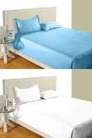 Idrape Cotton Striped Double Bedsheet 2 Double Bed Sheet, 4 Pillow Covers (Combo Offer ), Light Blue, White