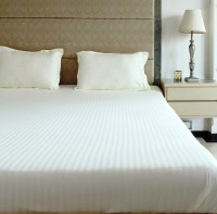 The Cotton Company Cotton Striped King Bedsheet 1 Bedsheet, 2 Pillow Covers, Vanilla Truffle