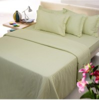 Amita Home Furnishing Satin Striped Queen Sized Double Bedsheet 1 Elastic Fitted Double Bed Sheet 4 To 6 Inch Matres, 2 Pillow Cover, Green