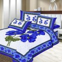 Aapno Rajasthan Pure Cotton Bold Blue Print Double - Set Pigment Print Flat Double Bedsheet