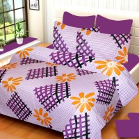 IWS Cotton Printed Double Bedsheet 1 Bedsheet, 2 Pillow Cover, Multicolor