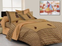 Lali Prints Cotton Embroidered King Sized Double Bedsheet 1 Bed Sheet, 2 Pillow Covers, Brown
