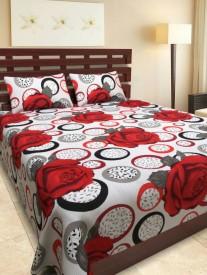 S Redish Cotton Floral Double Bedsheet