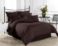 Ahmedabad Cotton Cotton, Satin Striped King Sized Double Bedsheet 1 Bed Sheet, 2 Pillow Covers, Brown