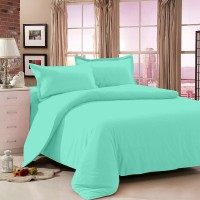 Story @ Home Cotton Solid Double Bedsheet 1 Bedsheet, 2 Pillow Cover, Light Blue