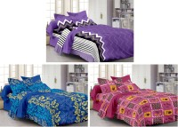 Story @ Home Cotton Printed Double Bedsheet Set Of 3 Double Bedsheet With 6 Pillow Cover, Multicolour