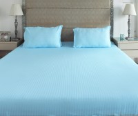 The Cotton Company Cotton Striped King Bedsheet 1 Bedsheet, 2 Pillow Covers, Azure Blue