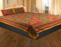 Rajasthan Crafts Cotton Embroidered Double Bedsheet 1 Bed Sheet, Multicolor