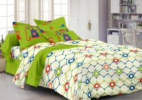 Story @ Home Cotton Printed Double Fitted Bedsheet 1 Double Bedsheet With 2 Pillow Cover, Off White