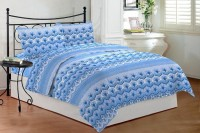 Bombay Dyeing Cotton Embroidered Double Bedsheet 1 Double Bedsheet, 2 Pillow Covers, Blue