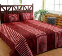 Ruhi Home Furnishing Polyester Striped Double Bedsheet 1 Double Bedsheet, 2 Pillow Covers, Multicolor