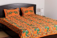 Vivid Rajasthan Cotton Embroidered Double Bedsheet Bedsheet, 2 Pillow Covers, Yellow