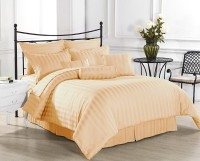 Ahmedabad Cotton Cotton, Satin Striped King Sized Double Bedsheet 1 Bed Sheet, 2 Pillow Covers, Light Brown