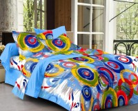 Cenizas Cotton Abstract Double Bedsheet (1 Double Bedsheet, 2 Pillow Covers, Blue)
