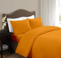 Ahmedabad Cotton Cotton Solid Double Bedsheet 1 Double Bedsheet, 2 Pillow Covers, Mustard
