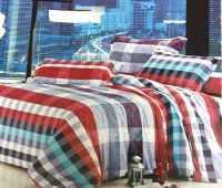 Gujattire Cotton Silk Blend Checkered King Bedsheet Double Bedsheet, 2 Pillow Cover, Blue, Maroon, Pink, Grey And White