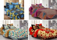 Story @ Home Cotton Printed Double Bedsheet Set Of 4 Double Bedsheet With 8 Pillow Covers, Multicolour