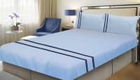 Milano Home Cotton Embroidered King Sized Double Bedsheet 1 Bedsheet & 2 Pillow Covers, Light Blue