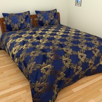 Nirmal Bichona Cotton Polyster Mix Polyester Silk Blend Floral, Printed Double Bedsheet 1 Double Bedsheet, 2 Pillow Covers, Blue, Golden